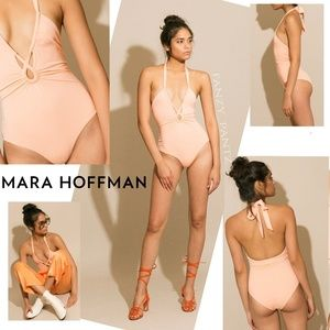 Mara Hoffman swimsuit Aya Peach one piece twisted